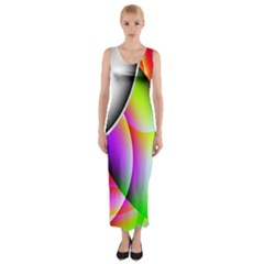 Psychedelic Design Fitted Maxi Dress
