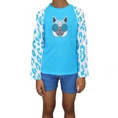 Wild Turquoise Kid s Long Sleeve Swimwear