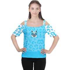 Wild Turquoise Women s Cutout Shoulder Tee