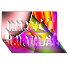 Colorful 1 Happy Birthday 3d Greeting Card (8x4)