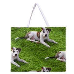Pit Bull T Bone Puppy Zipper Large Tote Bag