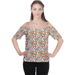 Allover Graphic Brown Women s Cutout Shoulder Tee