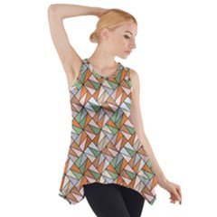 Allover Graphic Brown Side Drop Tank Tunic