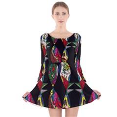 Birds Of Eight Long Sleeve Velvet Skater Dress