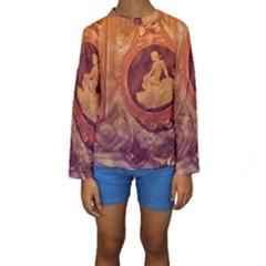 Vintage Ladies Artwork Orange Kid s Long Sleeve Swimwear
