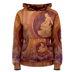 Vintage Ladies Artwork Orange Women s Pullover Hoodie
