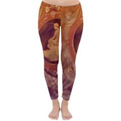 Vintage Ladies Artwork Orange Winter Leggings