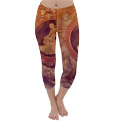 Vintage Ladies Artwork Orange Capri Winter Leggings