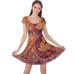 Vintage Ladies Artwork Orange Cap Sleeve Dresses