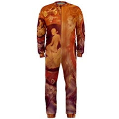 Vintage Ladies Artwork Orange Onepiece Jumpsuit (men)