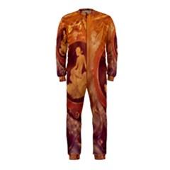 Vintage Ladies Artwork Orange OnePiece Jumpsuit (Kids)