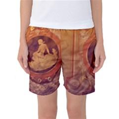 Vintage Ladies Artwork Orange Women s Basketball Shorts