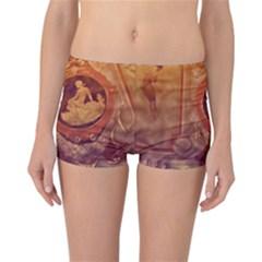 Vintage Ladies Artwork Orange Reversible Boyleg Bikini Bottoms