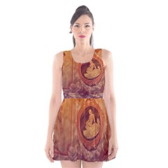 Vintage Ladies Artwork Orange Scoop Neck Skater Dress