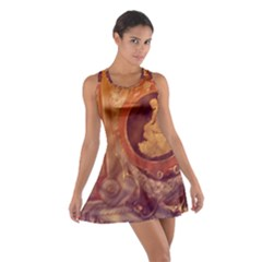 Vintage Ladies Artwork Orange Racerback Dresses