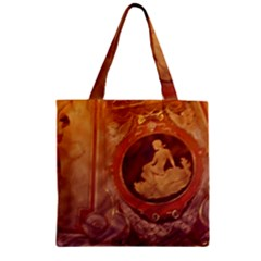 Vintage Ladies Artwork Orange Zipper Grocery Tote Bag
