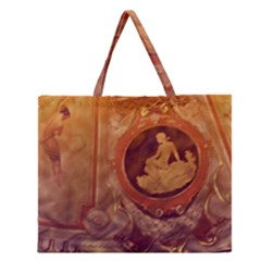 Vintage Ladies Artwork Orange Zipper Large Tote Bag