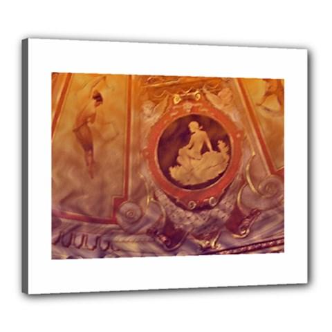 Vintage Ladies Artwork Orange Canvas 24  X 20