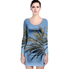 Tropical Palm Tree  Long Sleeve Bodycon Dress