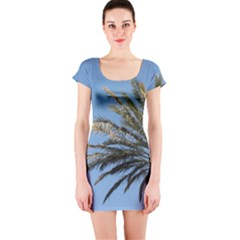 Tropical Palm Tree  Short Sleeve Bodycon Dress