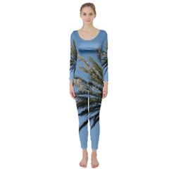 Tropical Palm Tree  Long Sleeve Catsuit