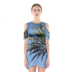 Tropical Palm Tree  Cutout Shoulder Dress