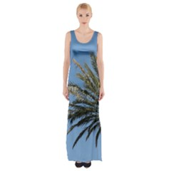Tropical Palm Tree  Maxi Thigh Split Dress