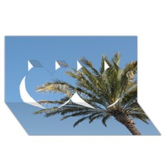Tropical Palm Tree  Twin Hearts 3D Greeting Card (8x4)