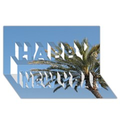 Tropical Palm Tree  Happy New Year 3d Greeting Card (8x4)