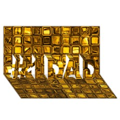 Glossy Tiles, Golden #1 Dad 3d Greeting Card (8x4)