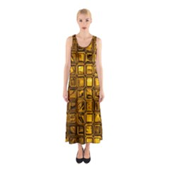 Glossy Tiles, Golden Full Print Maxi Dress