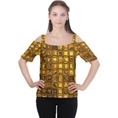 Glossy Tiles, Golden Women s Cutout Shoulder Tee