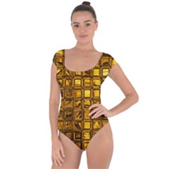 Glossy Tiles, Golden Short Sleeve Leotard (Ladies)