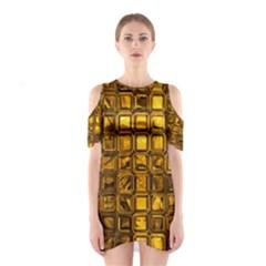 Glossy Tiles, Golden Cutout Shoulder Dress