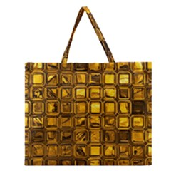 Glossy Tiles, Golden Zipper Large Tote Bag