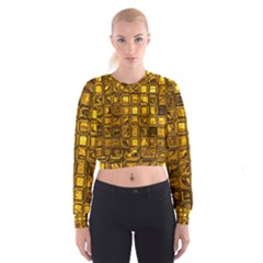 Glossy Tiles, Golden Women s Cropped Sweatshirt