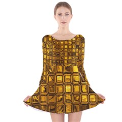 Glossy Tiles, Golden Long Sleeve Velvet Skater Dress