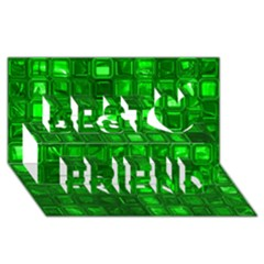 Glossy Tiles,green Best Friends 3d Greeting Card (8x4)