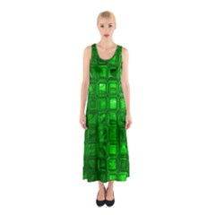 Glossy Tiles,green Full Print Maxi Dress