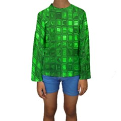 Glossy Tiles,green Kid s Long Sleeve Swimwear