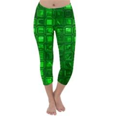 Glossy Tiles,green Capri Winter Leggings
