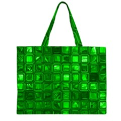 Glossy Tiles,green Large Tote Bag