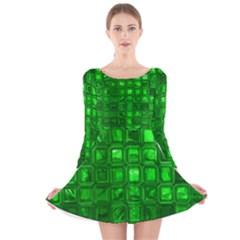 Glossy Tiles,green Long Sleeve Velvet Skater Dress