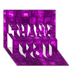 Glossy Tiles,purple Thank You 3d Greeting Card (7x5)