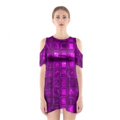 Glossy Tiles,purple Cutout Shoulder Dress