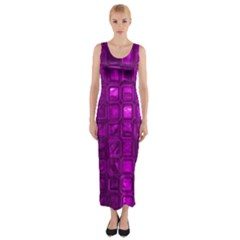 Glossy Tiles,purple Fitted Maxi Dress