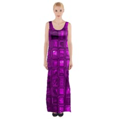 Glossy Tiles,purple Maxi Thigh Split Dress