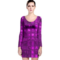 Glossy Tiles,purple Long Sleeve Velvet Bodycon Dress