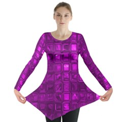 Glossy Tiles,purple Long Sleeve Tunic