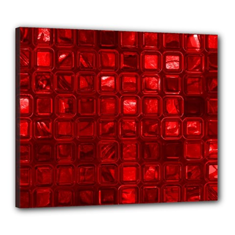 Glossy Tiles,red Canvas 24  X 20